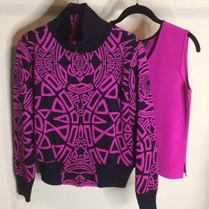 Ming Wang jacquard full zip sweater set Small